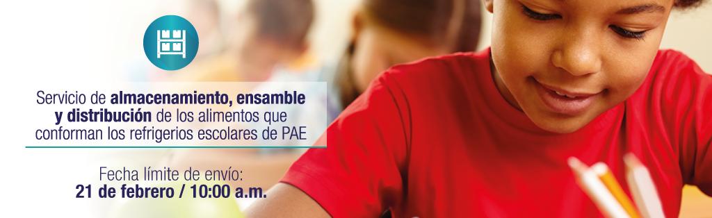 Servicio de almacenamiento, ensamble y distribución de los alimentos que conforman los refrigerios escolares de PAE. Fecha límite de envío: 30 de enero - 10:00 a.m.